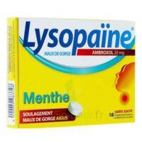 LYSOPAÏNE AMBROXOL 20 mg Pastille maux de gorge sans sucre menthe édulcorée au sorbitol et saccharine sodique Plq/18 à Mimizan