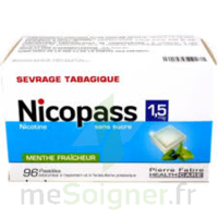 Nicopass 1,5 mg Pastille sans sucre menthe fraîcheur Plq/96 à Mimizan